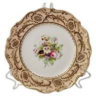 Coalport dessert plate, peach with handpainted flowers 5/459, ca 1840