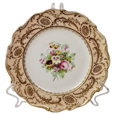 Coalport dessert plate, peach with handpainted flowers 5/459, ca 1840