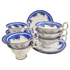 Davenport early 19th Century coffee and tea set, lapis blue, ca 1830