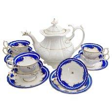 Fabulous Rococo Revival tea set with Duck Spout teapot, Davenport/Coalport ca 1830