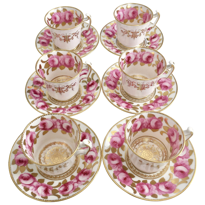 Antique Davenport set of 6 coffee cups, Billingsley roses patt  5168 with  London handle, 1820-1825