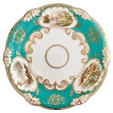 Dessert plate, hand painted landscapes, Davenport ca 1855