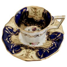 Davenport coffee cup and saucer, cobalt blue and flowers patt.812, ca 1825