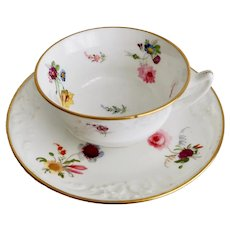 Davenport teacup, fine moulding and flowers, ca 1820