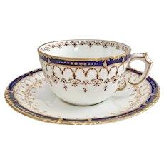 Antique Victorian Royal Crown Derby teacup, cobalt blue and gold, 1898