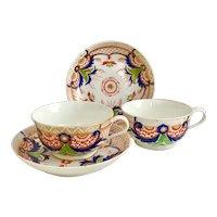 Two Crown Derby breakfast cups, Imari pattern ca 1800-1825