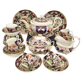 Early Derby tea and coffee service, Japan pattern ca 1815