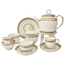 Early Derby Tea for Two (tete a tete) service, white ribbed, 1782-1800