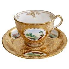 Sir James Duke teacup and saucer, gilt with landscapes, 1860-1863