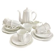 """Adorable Shelley """"Dainty White"""" coffee service for six, fine bone china"""