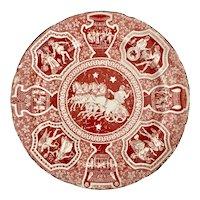 Herculaneum plate, red Greek Kirk pattern with Zeus, ca 1810