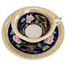Hilditch teacup, cobalt blue, dogroses and Greek keys, ca 1820