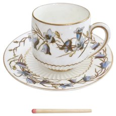 George Jones demitasse cup and saucer, campanula, 1893-1924