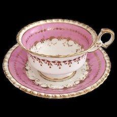 Minton teacup and saucer, overglaze pink on K-shape, 1825-1830