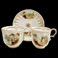 Minton teacup trio, Bath style with superbly hand painted landscapes, ca 1850