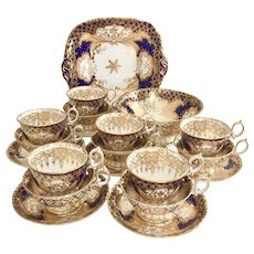Minton tea set for 6, Q-shape gilt and cobalt blue, ca 1845