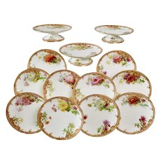 Signed Minton dessert service, chrysanthemums by Anton Connelly, 1894