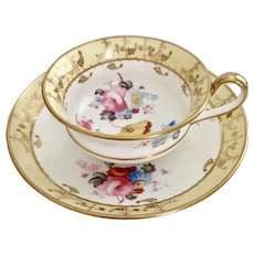 Minton teacup and saucer, Regency style with superbly hand painted flowers, ca 1825