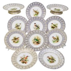 Stunning Minton dessert service, named birds by Joseph Smith, 1851
