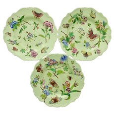 Three Minton dessert plates, printed/hand coloured flowers and butterflies, 1820s