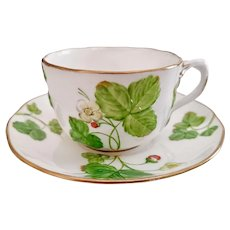 Minton teacup and saucer, moulded strawberries patt. A2625, 1855