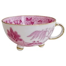 Minton orphaned footed teacup, pink pagoda patt. 4168, ca 1840