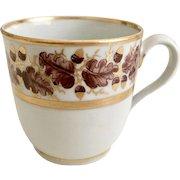 New Hall orphaned coffee cup, patt 302 Oak Wreath, Georgian ca 1790