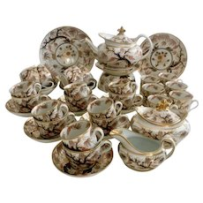 "Spectacular New Hall tea service, rare shape with pattern 446 ""Imari Vine"", ca 1810"