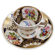New Hall coffee cup and saucer, pattern 2101, ca 1815