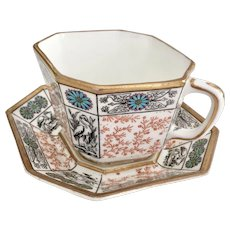 Aesthetic Movement octagonal coffee cup with storks, Powell, Bishop & Stonier, 1876-1878