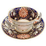 Rathbone teacup and saucer, bright flowers on cobalt blue, ca 1815 A/F