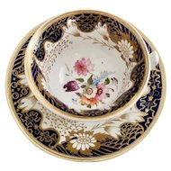 Rathbone teacup and saucer, hand painted flowers, ca 1815