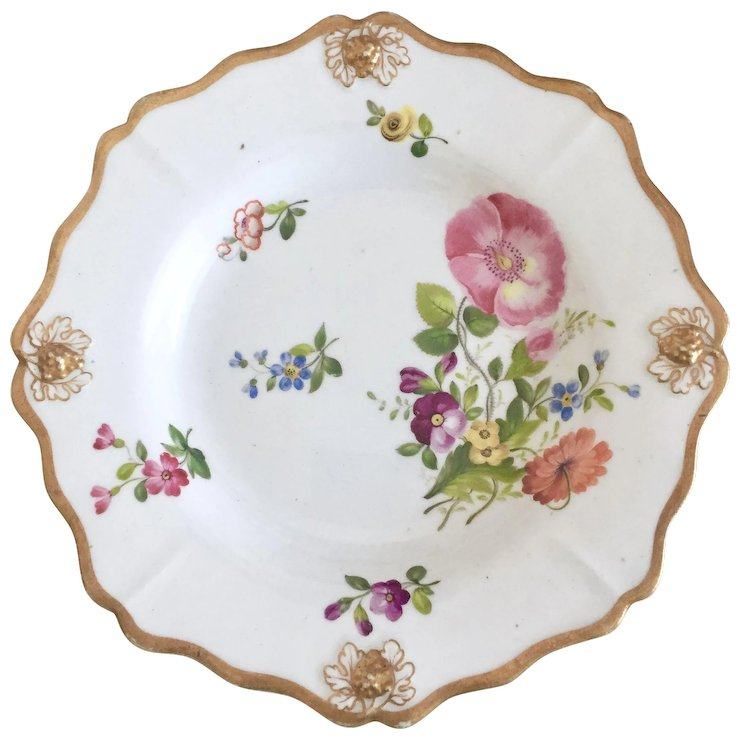Antique Ridgway dinner plate grape moulded with hand painted flowers ca 1815  sc 1 st  Ruby Lane & Antique Ridgway dinner plate grape moulded with hand painted ...