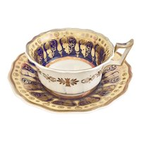 Antique Ridgway breakfast teacup, heavy gilding in several shades ca 1820-1825