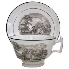 Ridgway teacup and saucer with bat printed rural scene, ca 1815