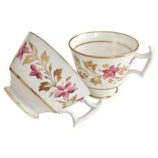 Ridgway orphaned tea and coffee cup set, patt 2/485 London shape, ca 1815