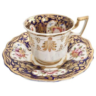 Ridgway coffee cup and saucer, cobalt blue, gilt and flowers patt 2/26, ca 1825