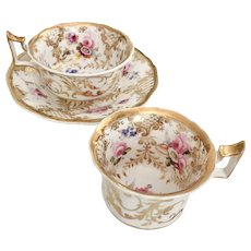 Ridgway tea/coffee cup trio, gilt and hand painted flowers, ca 1825