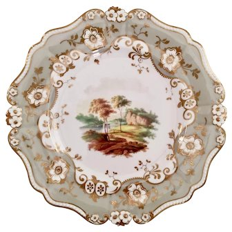 Ridgway plate, landscape on daisy moulding patt. 2734, ca 1830 A/F