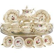 Rockingham tea service, Rococo Revival #1373 gilt seaweed & flowers, ca 1832