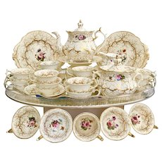 Rockingham tea service, Rococo Revival #1373 gilt seaweed & flowers, ca 1832