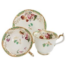 Rockingham tea/coffee trio, hand painted flowers patt 1475, ca 1835