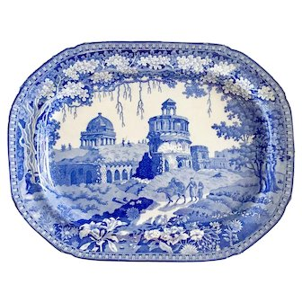 Rogers blue and white transferware platter, Monopteros pattern, ca 1830 - perfect for Thanksgiving