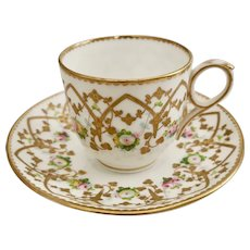 Sampson Bridgwood teacup, raised gilt ca 1860