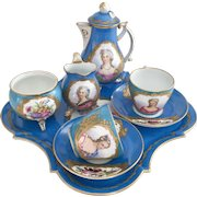 Sèvres cabaret coffee set for two, probably 1815-1830, with Royal mistress cameos