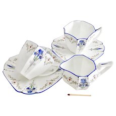 Shelley demitasse Coffee-for-Two set, Blue Iris patt. 11561 on Queen Anne shape 1927