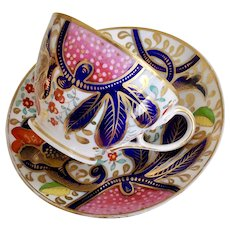 Rare John Rose Coalport teacup, serpent handle and Japan pattern, ca 1800-1815