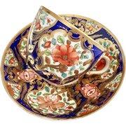 Antique Spode teacup duo, bute shape cobalt blue with flower panels, 1800-1815