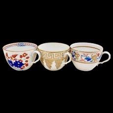 Set of three orphaned Spode teacups, bute shape, ca 1805-1810