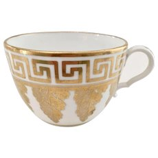 Orphaned Spode teacup, bute shape with Greek gilt pattern, 1810